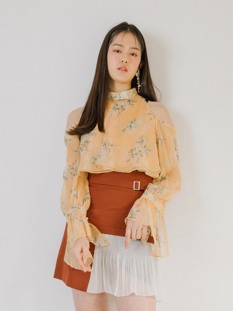 18SS High-waist belted skirt (Brown)