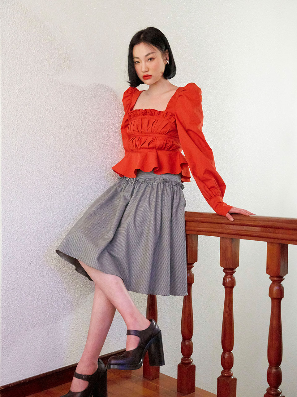 19SS Shirring volume skirt (Check)