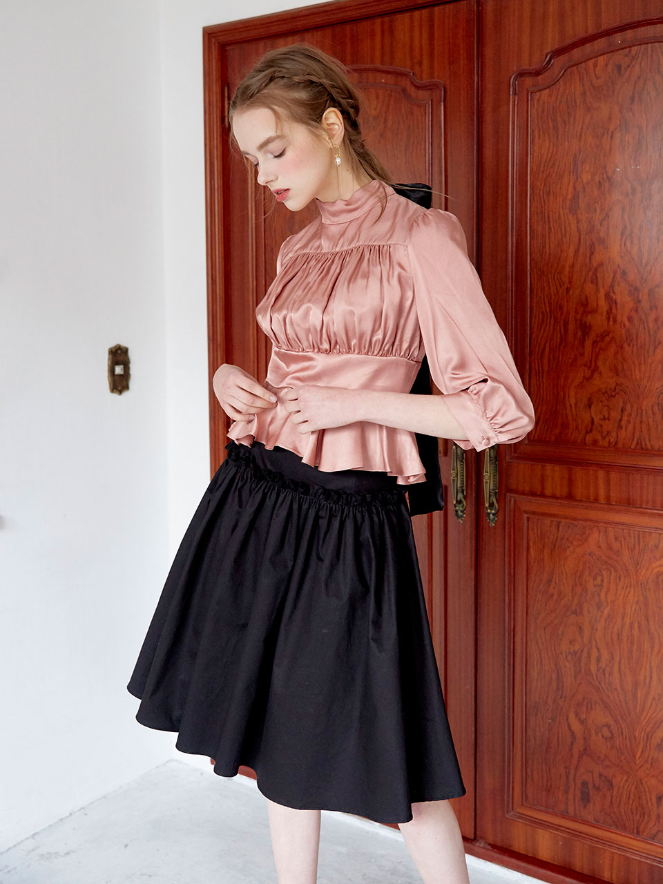 19SS Shirring volume skirt (Black)