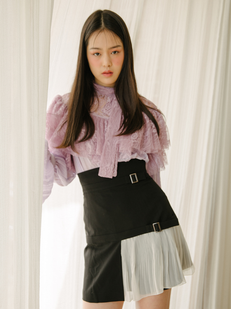 18SS Lace frill blouse (Purple)