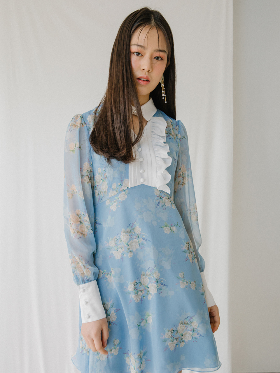 18SS Flower choker dress (Blue)