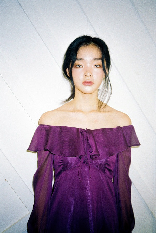 Frill flare dress (Purple)