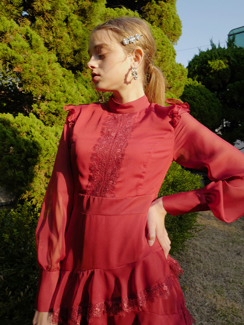 18AW Lace frill dress (Red)