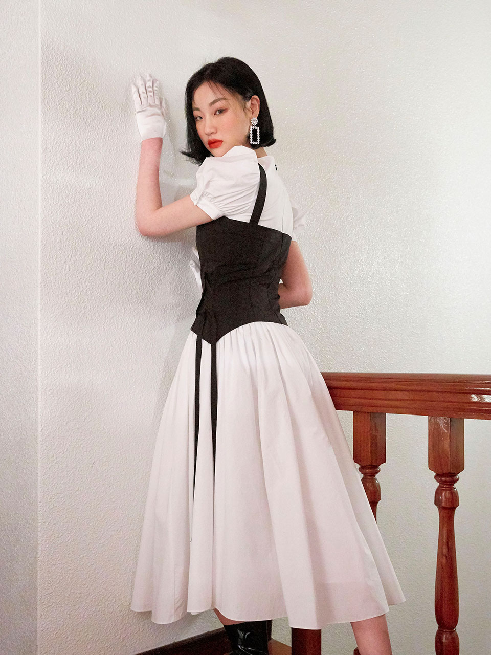 19SS Corset puff dress (White)