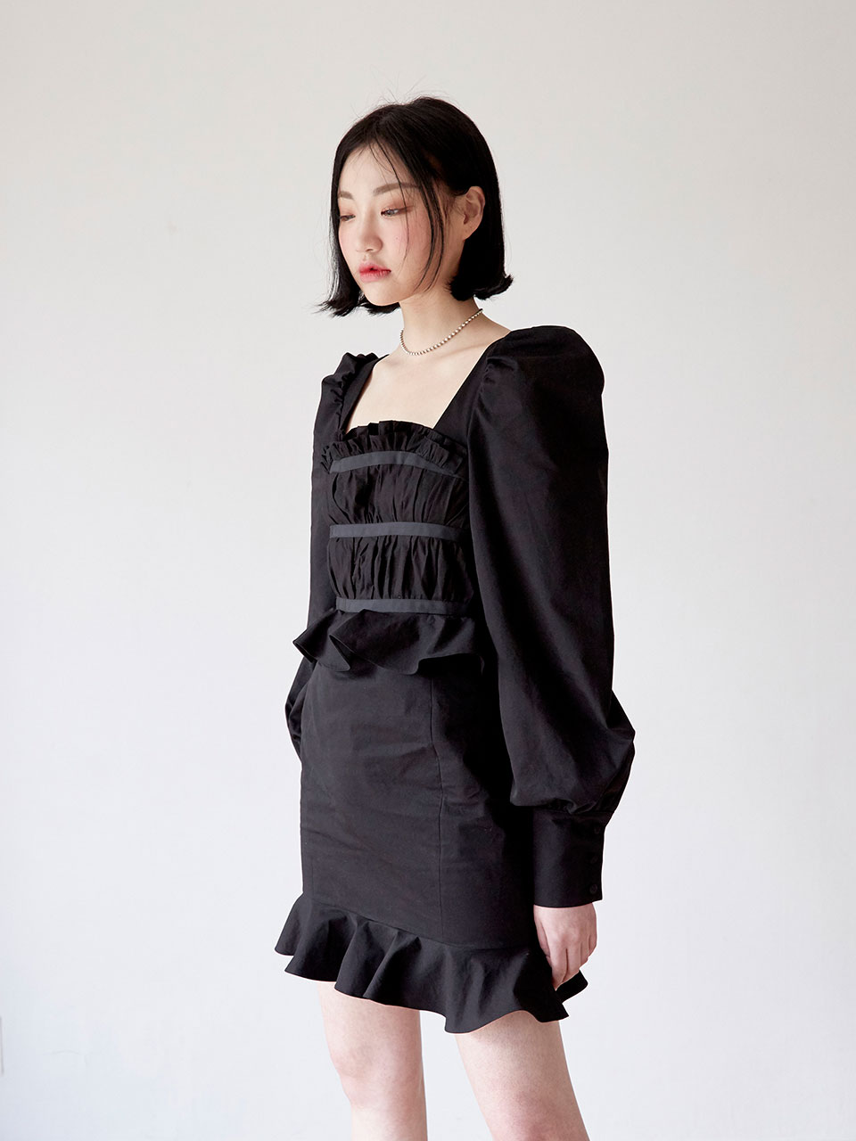 19SS Pleats taped dress (Black)
