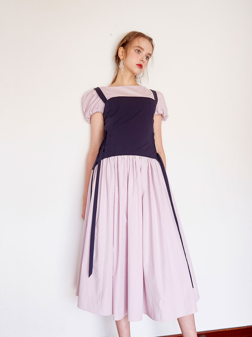 19SS Corset puff dress (Purple)