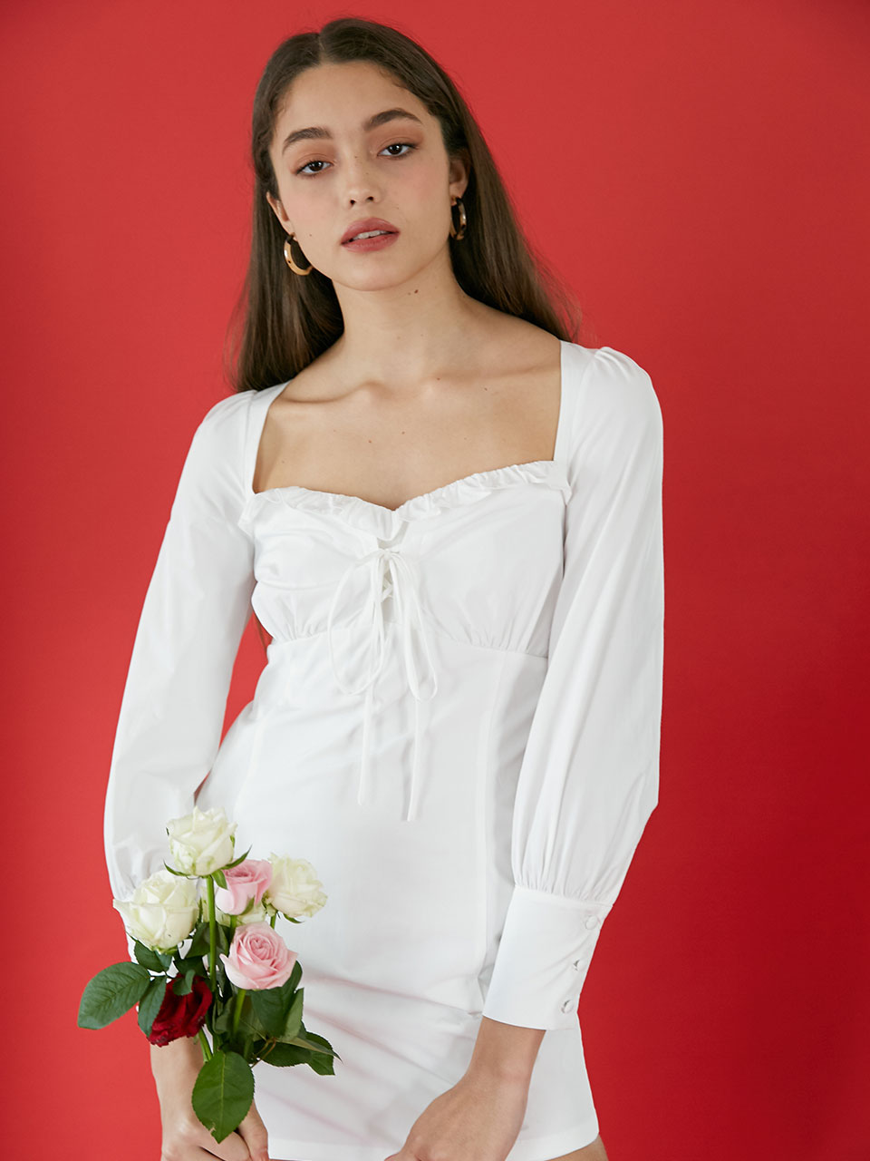 19Fall Rosepetal corset dress (White)