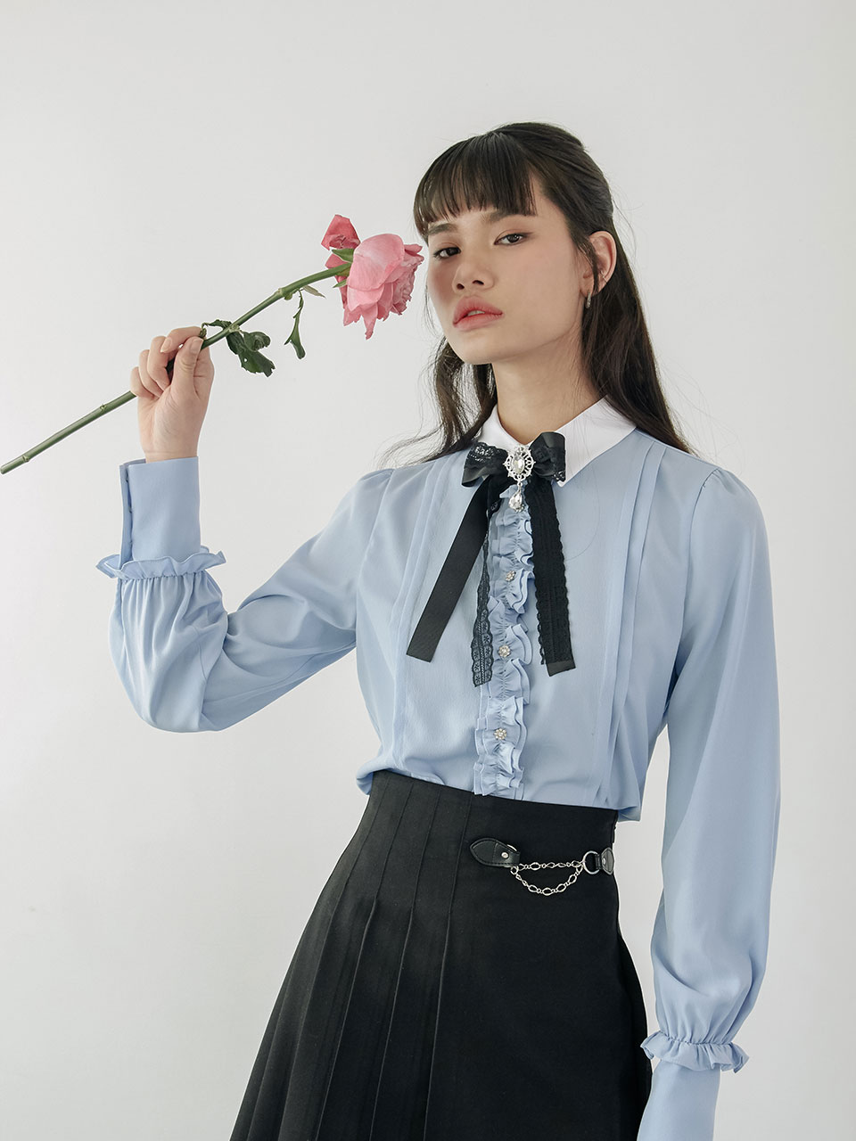 20SS Ribbon frill blouse (blue)