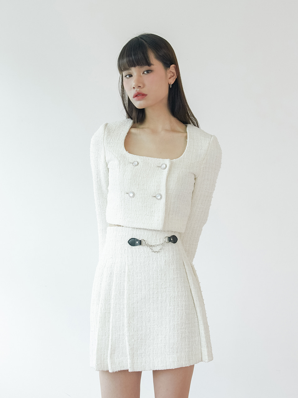 20SS Tweed crop jacket (white)