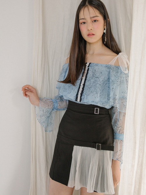 18SS High-waist belted skirt (Black)
