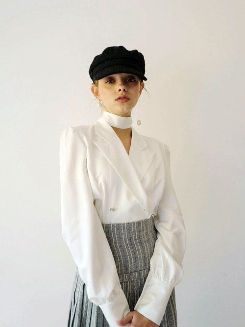 18AW Double button blouse (White)