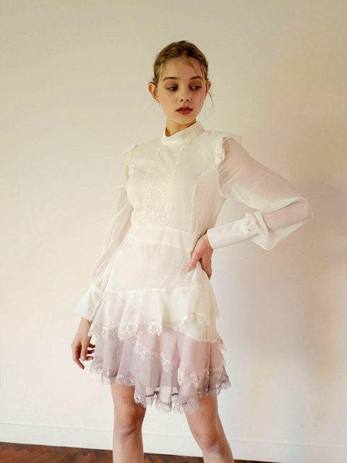 18AW Lace frill dress (Ivory)