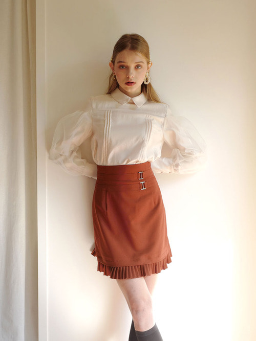 18AW Pleats layered skirt (Brown)