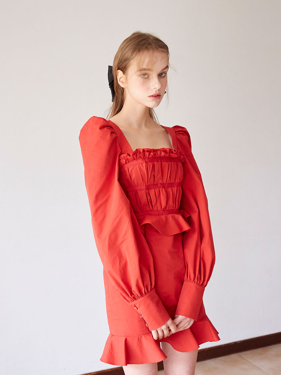 19SS Pleats taped dress (Red)
