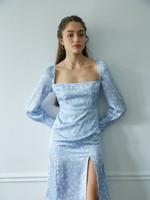 19Fall Rosepetal slit dress (Blue)