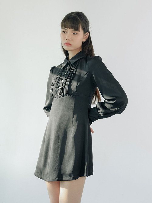 20SS Frill jewel dress (black)